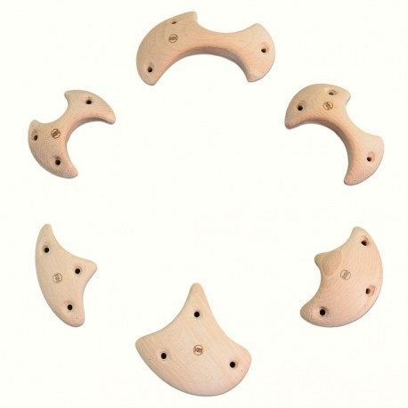 Wooden Small Axes - 6 Wooden Climbing Holds - Bars, Crimps