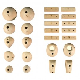 Symmetric Wood Holds - 24 Symmetric Wood Climbing Holds