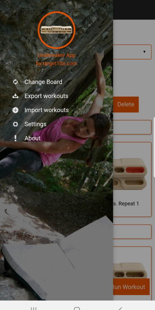 Linebreaker App - Menü