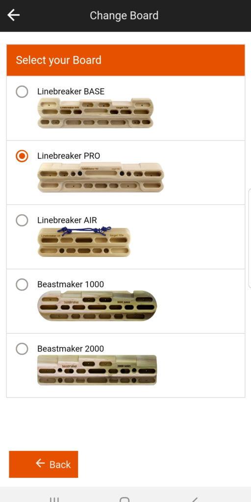 Linebreaker App - Board Auswahl